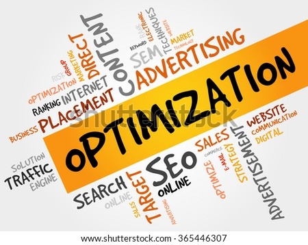 OPTIMIZATION word cloud, business concept - stock photo