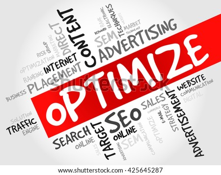 OPTIMIZE word cloud, business concept - stock photo