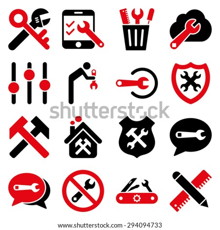 Options and service tools icon set. Glyph style: flat bicolor symbols, intensive red and black colors, rounded angles, white background. - stock photo