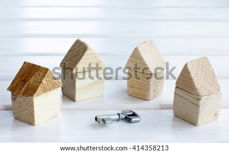 options for the set of houses and a symbolic key/choice of house turnkey - stock photo
