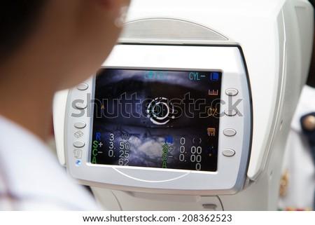 Optometrist examines the sight - stock photo