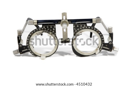 Optometrist's trial frame for eye testing - stock photo