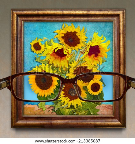 Optometry. Concept graphic. visibility through glasses as a photograph. In addition to them like an impressionist painting. - stock photo