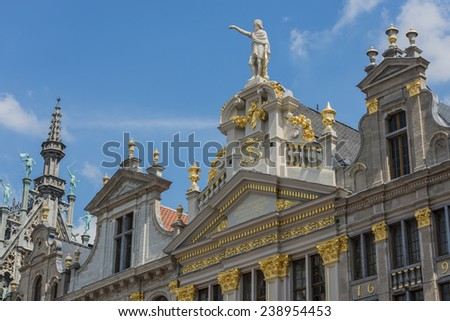 Opulent guildhalls surrounds the Grand Place or Grote Markt, the central square of Brussels in Belgium. - stock photo