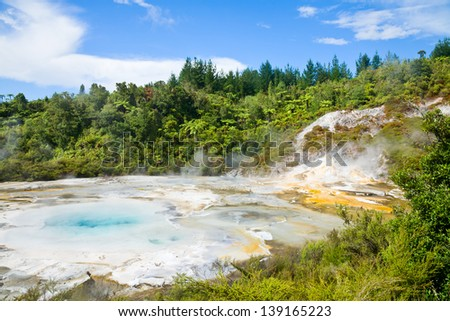 Orakei Korako Cave and Thermal Park geothermal area in  New Zealand - stock photo