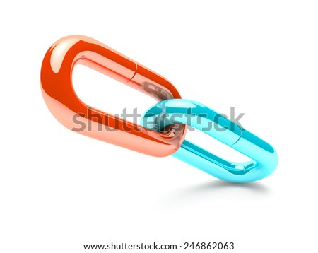 orang and turquoise chain. - stock photo
