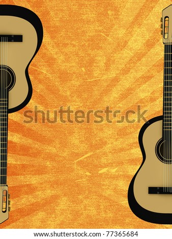 Orange abstract background with a guitar - stock photo