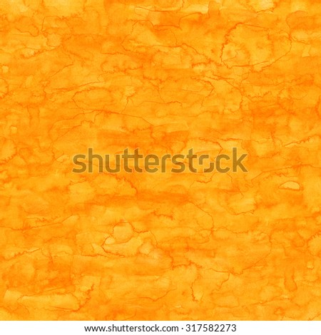 Orange abstract watercolor macro texture background. Colorful handmade technique aquarelle backdrop. Empty surface of square format with copy space for text for your graphic design ideas - stock photo