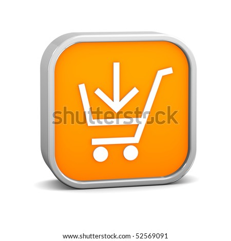 Orange add to cart sign on a white background. Part of a series. - stock photo