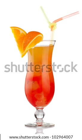 Orange alcohol cocktail with fruit slices isolated on white - stock photo