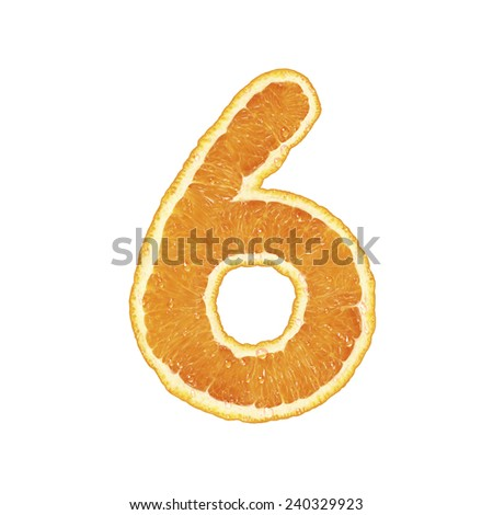Orange alphabet (number 6)  - stock photo