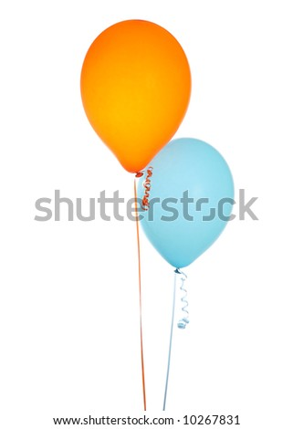 Orange and Blue Balloons Isolated on a White Background - stock photo