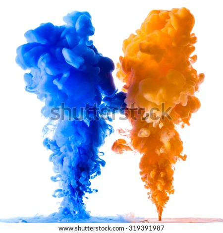 Orange and blue ink splashes in the water, isolated on white background - stock photo