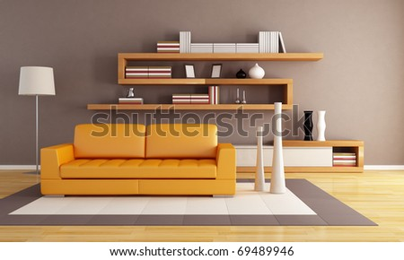 orange and brown living room with modern wooden  bookshelf - stock photo