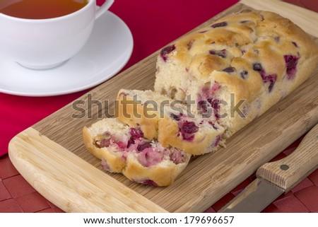 orange and cranberry tea cake - stock photo