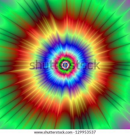 Orange and Green Color Explosion / Digital abstract fractal image with a tie dye  color explosion design in orange, green and blue. - stock photo