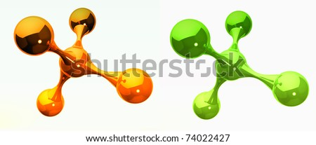 orange and green reflective isolated molecules - stock photo