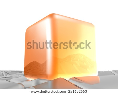 Orange and grey cubes as abstract background. - stock photo