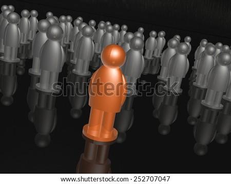 Orange and grey mans on black reflective background. - stock photo