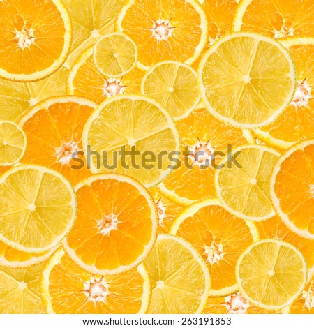 Orange And Lemon Slice Abstract Seamless Pattern - stock photo