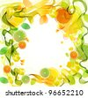 Orange and lime juice splash with abstract wave, beautiful illustration - stock photo