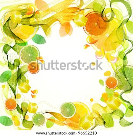 Orange and lime juice splash with abstract wave, beautiful illustration - stock photo
