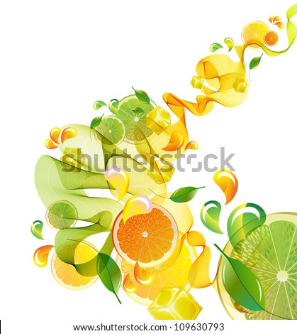 Orange and lime juice splash with abstract wave, illustration - stock photo