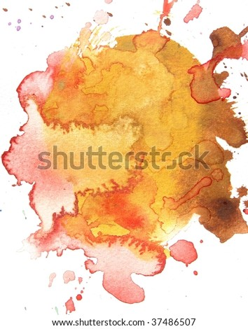 orange and red abstract splash watercolor background - stock photo