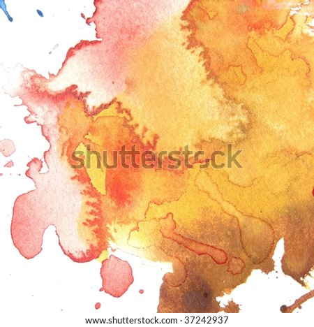 orange and red abstract watercolor splash background - stock photo