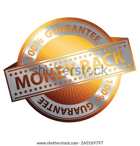 Orange and Silver Metallic 100% Guarantee Money Back Badge, Icon, Sticker, Banner, Tag, Sign or Label Isolated on White Background - stock photo
