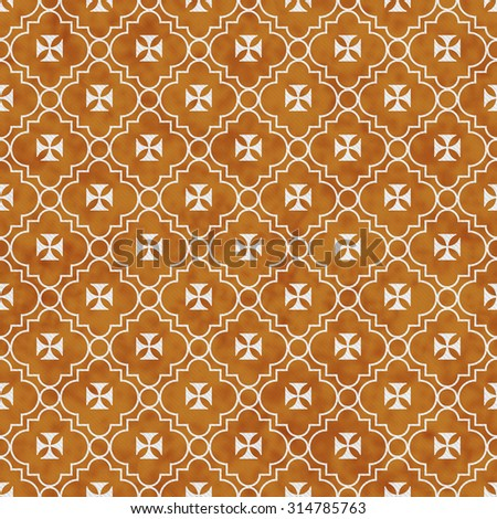 Orange and White Maltese Cross Symbol Tile Pattern Repeat Background that is seamless and repeats - stock photo