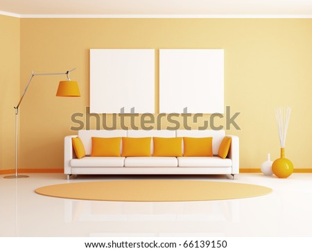 orange and white minimalist living room - rendering - stock photo