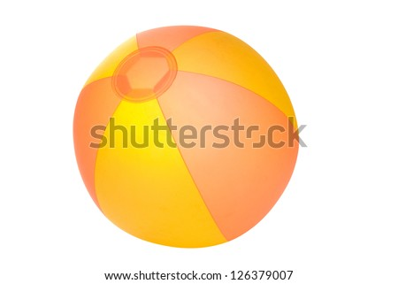 Orange and yellow beachball on a white background. Clipping path included. - stock photo