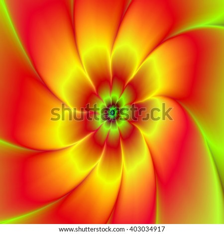 Orange and yellow Flower / A digital abstract fractal image with a nine petaled flower design in yellow, orange, red and green. - stock photo