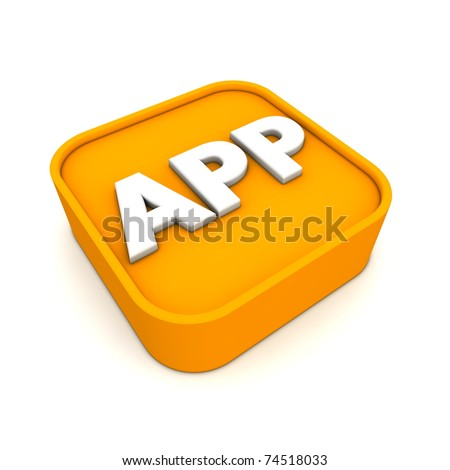 orange APP symbol rendered in 3D isolated on white ground - lying - stock photo