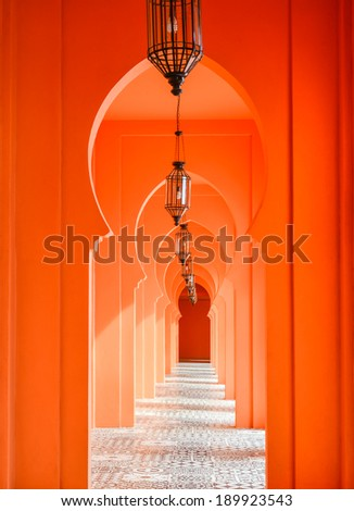 orange arch door of ancient architecture - stock photo