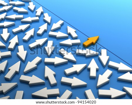 Orange arrow breaking out of the crowd. Conceptual image of going different ways - stock photo