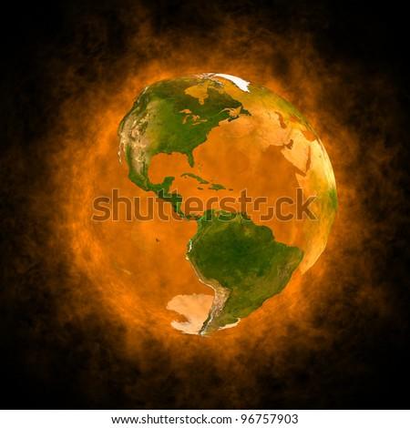 Orange aura of Earth - America - stock photo