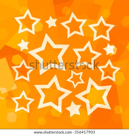 Orange background with shining stars - stock photo