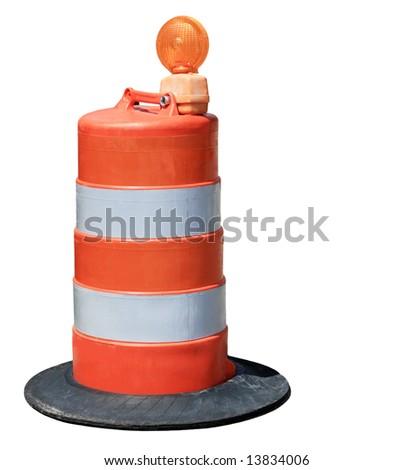 Orange barrel isolated on white background - stock photo