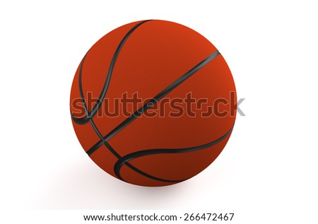 Orange basketball ball isolated on white background - stock photo