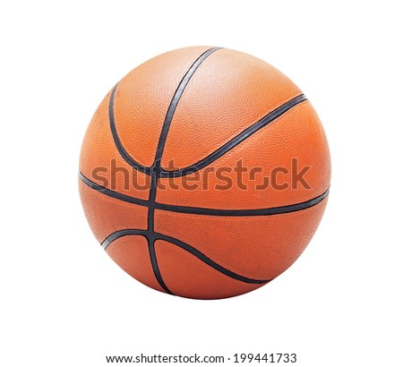 Orange basketball old and used, isolated in white background (with clipping path) - stock photo