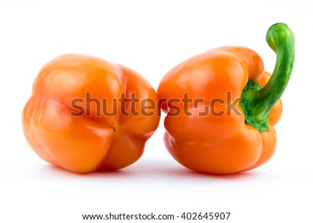 orange bell pepper, paprika isolated on white background / yellow paprika (pepper) isolated / fresh wet orange paprika on white background - stock photo