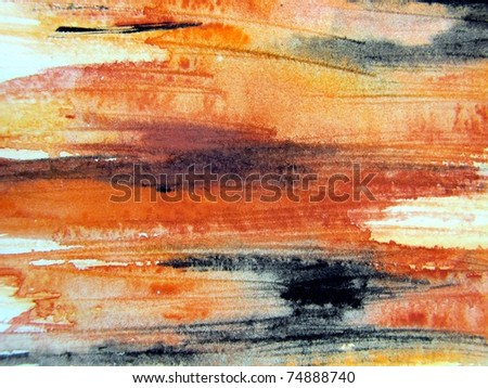 Orange Black & Yellow Watercolour 3 - stock photo