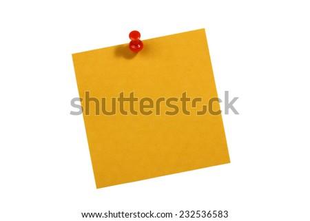 orange blank card with push pin on white background - stock photo