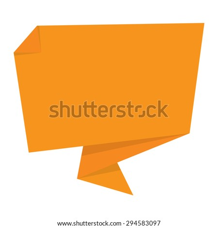Orange Blank Paper Origami Speech Bubble or Speech Balloon Sticker, Label, Sign or Icon Isolated on White Background - stock photo