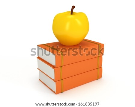 Orange book tower with yellow apple on the top, isolated on white background. 3d render of studing illustration. Back to school. - stock photo