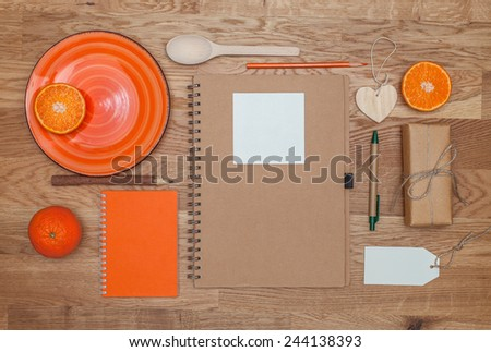 Orange branding mock up. Oranges. Pens, notebooks and gifts in eco-style. - stock photo