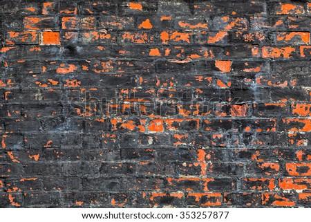 orange brick old wall. Vintage background, texture - stock photo