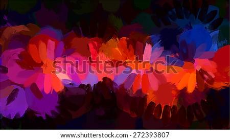 Orange brush strokes on black background. Raster version - stock photo